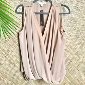 Lumiere nude top zippers on shoulders